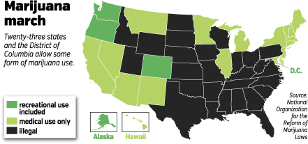 US State Marijuana Law Map - March 2015