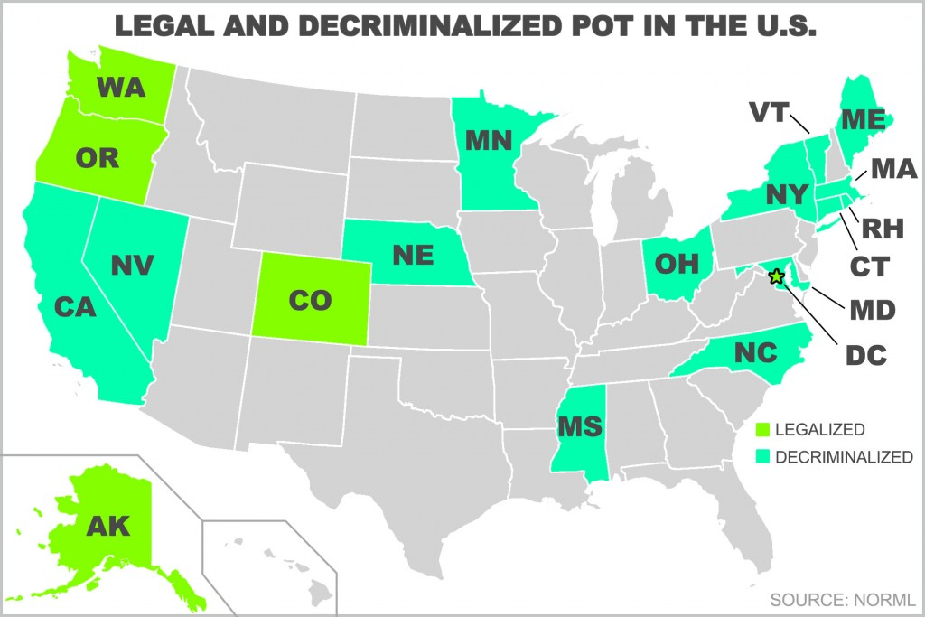 legal and decriminalized marijuans state map