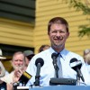Vermont House Speaker Shap Smith announces Wednesday, Aug. 19, 2015, in his hometown of Morrisville, Vt., that he will seek the Democratic nomination for governor for the 2016 election. Incumbent Democrat Gov. Peter Shumlin announced in June he would not seek a fourth, two-year term. (AP Photo/Alison Redlich)